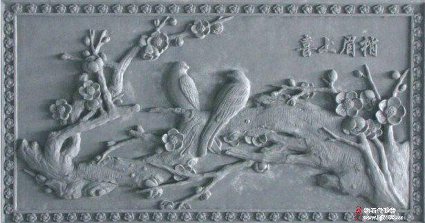 中式复古砖雕,喜上眉梢,砖雕背景墙