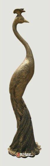 立体孔雀砂岩雕塑,青铜色砂岩圆雕