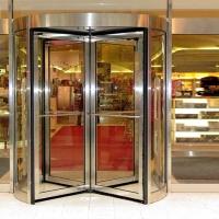 酒店三翼YY-3Y自动旋转门不锈钢本色