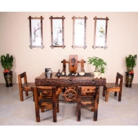老船木办公桌大班桌写字台船木办公桌书桌电脑桌中式仿古实木家具