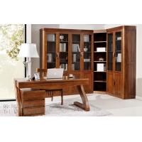 缅甸柚木家具组合全实木书桌椅原木书柜
