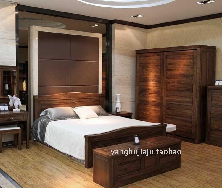 高档黑胡桃木家具全实木双人床 绿林木语品牌
