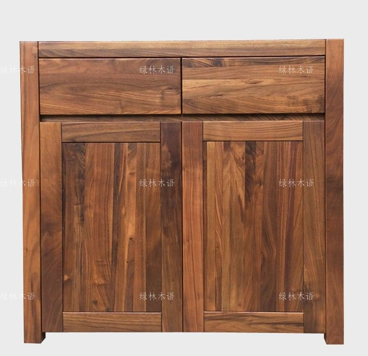 全实木餐边柜碗橱黑胡桃木家具 绿林木语品牌