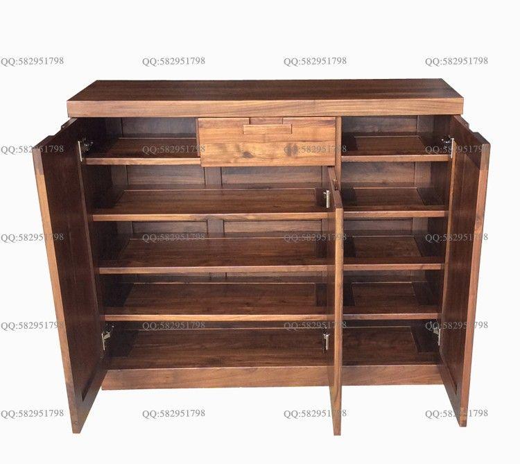 全实木鞋柜黑胡桃木储物柜收纳柜 绿林木语