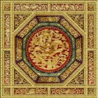 禪堂浮雕天花  中式禪堂裝修  寺廟吊頂彩繪