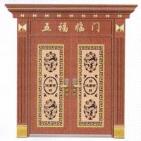 佛山 不锈钢门厂家 豪华罗马柱红古铜自由纹对开门