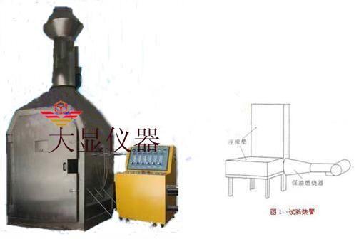 流量计、燃烧器组成。 1、试样燃烧器是改进的喷枪型; 2、喷射角为80的喷嘴; 3、燃烧器锥形筒:安装在喷管端部,长305mm,开口高为152mm,宽280mm; 4、燃烧器燃油压力调节阀:调节燃油流量为0.126L/min; 5、试验燃烧施加火焰时间为2min。 本仪器是依据国家标准《AC-25-01R2 中国民用航空规章第25部,附录F 座椅垫的可燃性》试验标准中所规定的技术条件而研究研制的一种新型的测试设备。本试验是为了限制飞机座椅垫对火焰传播和烟释放的发烟性能的评定。 本标准适用于测定模拟飞机失事