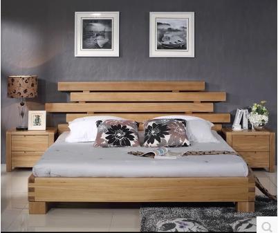 纯实木榆木双人床 五条杠实木床