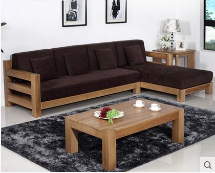 榆木沙发组合 纯实木客厅L型转角沙发