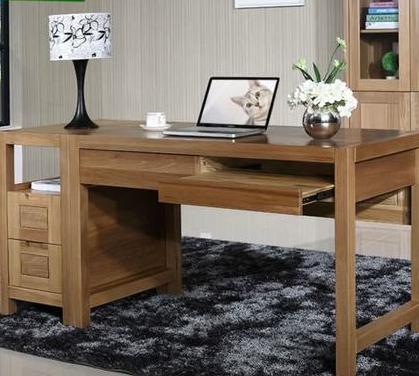 纯榆木书桌实木电脑桌写字台  北欧篱笆