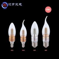 E27E14B22螺纹LED蜡烛灯泡家用4w尖泡小螺口拉尾泡