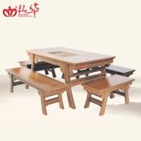 铭华红木古典家具秦式茶桌五件套鸡翅木材质