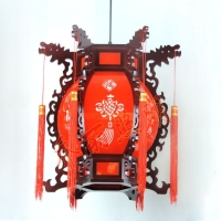 中式阳台吊灯 仿古客厅书房门庭木艺灯 羊皮过道灯笼
