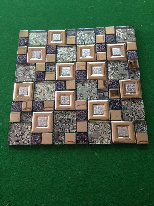 metal mix glass mosaic tiles ��