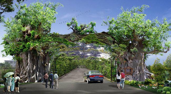河南郑州专业人造景观大门,生态园大门,古树榕树门