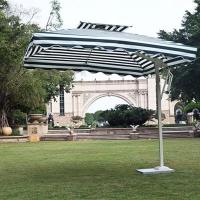 厂家直销户外庭院伞露天绿白条单边伞遮阳伞
