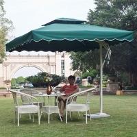 铝合金单边侧边室外摆摊岗亭庭院2.1米墨绿色方形遮阳伞