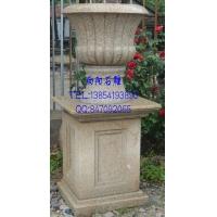 石雕花盆、黄锈石花盆、石雕花钵、石材花钵