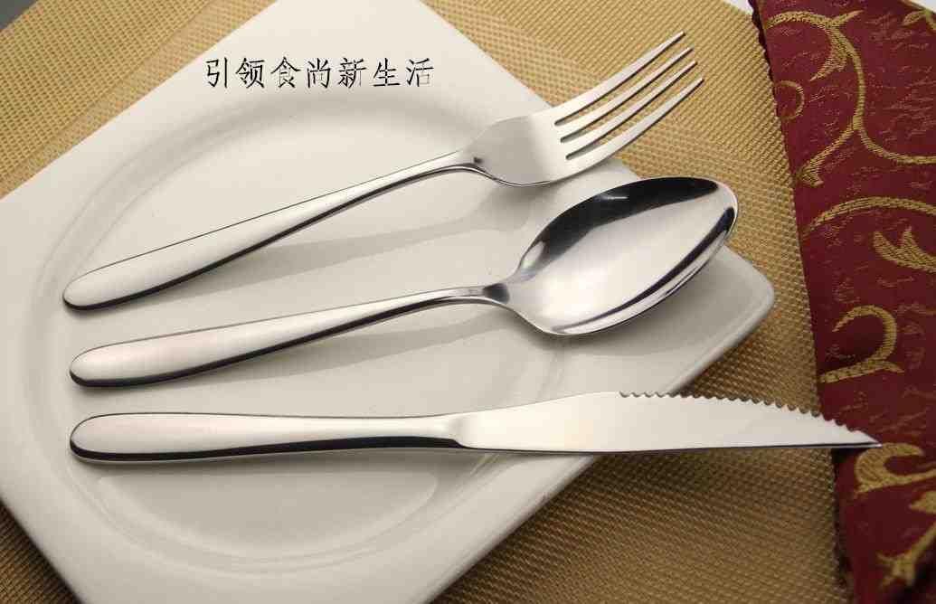 不锈钢餐具牛排刀餐刀甜品刀尖勺圆勺咖啡勺水果沙拉叉