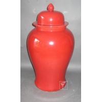 供应红釉陶瓷将军罐 酒店陈设瓷