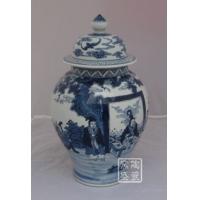 景德镇青花手绘人物将军罐 酒店装饰陶瓷