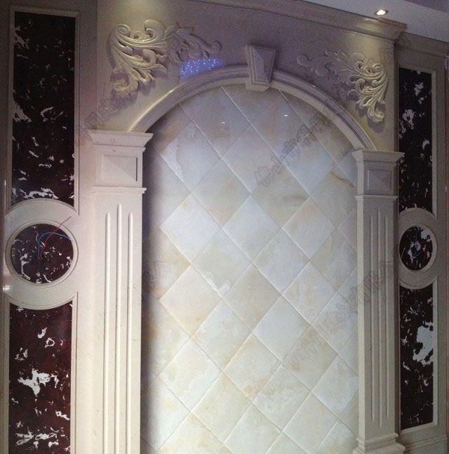 别墅欧式仿玉石罗马柱电视背景墙产品图片