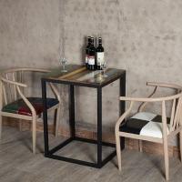 铁艺办公桌酒吧桌方桌复古实木餐桌椅组合