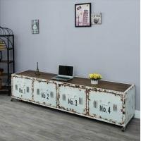 美式复古铁艺实木电视柜仿古做旧客厅落地柜抽屉