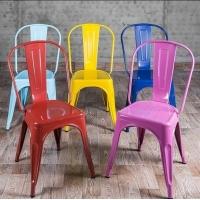 复古做旧铁艺餐厅咖啡厅金属餐椅休闲靠背铁皮凳铁椅子