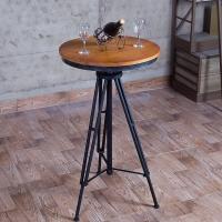 美式铁艺实木酒吧圆桌复古休闲茶几升降酒吧桌椅