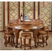 成都中式餐桌 明清复古仿古餐桌饭桌 全实木明清圆形餐桌櫈