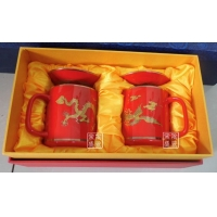 供应中国红茶杯 中国红龙凤对杯 婚庆纪念礼品中国红茶杯