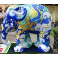 青岛玻璃钢彩绘大象雕塑,玻璃钢彩绘大象雕刻
