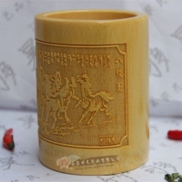 竹够昊-本色小号半雕-竹雕刻笔筒-竹工艺品