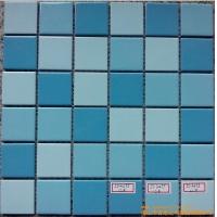 厂家直销- 平面三色蓝 陶瓷马赛克 游泳池马赛克瓷砖价格