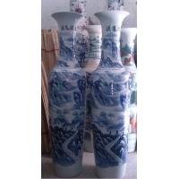 1.8米青花山水大花瓶,落地商务花瓶
