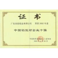 中国铝型材四强证书