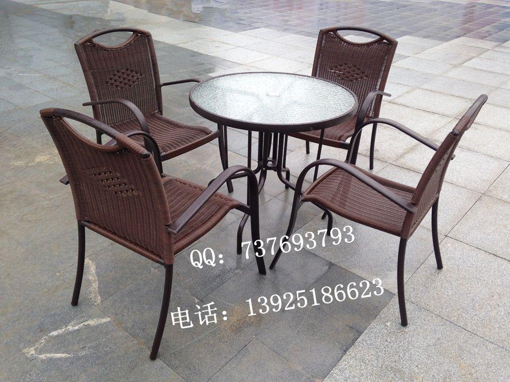 户外编藤桌椅 室外实木桌椅 阳台铁艺桌椅