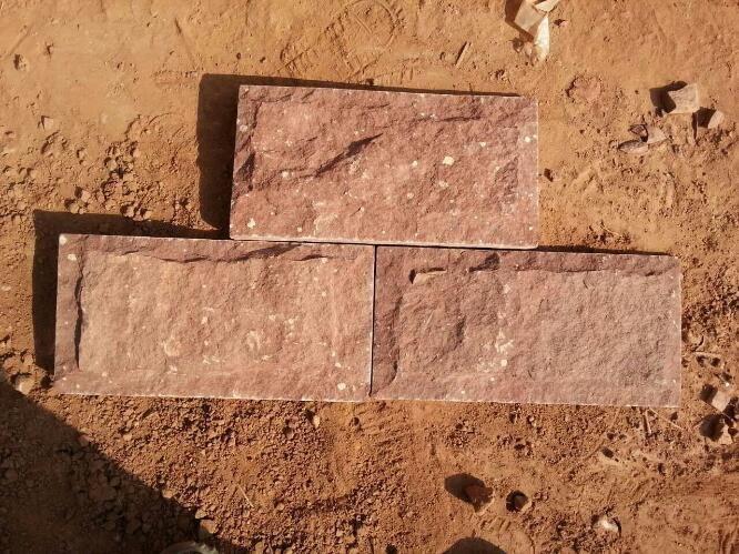 天然石材文化石红色蘑菇石15*30 外墙砖