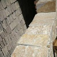 白色文化石厂家现货供应黄色碎拼石规格尺寸定制