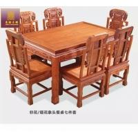 东渝木雕红木家具非花缅花象头餐桌七件套