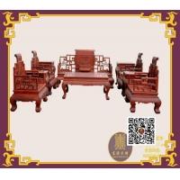 東渝木雕中式榆木沙發配套