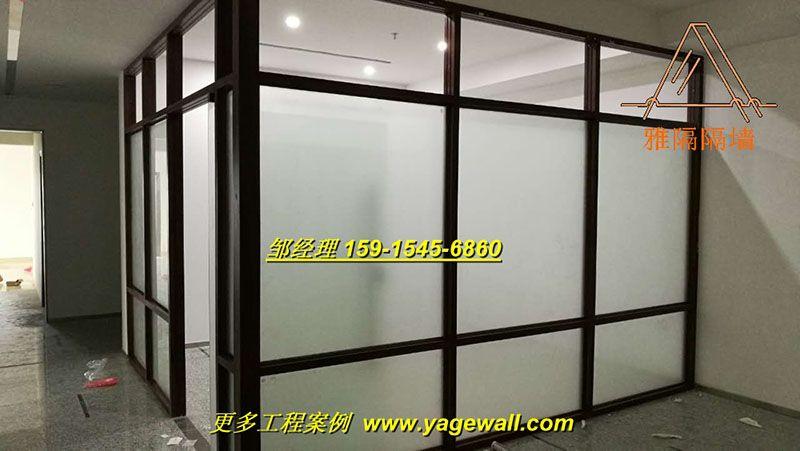 江门成品玻璃隔断内夹百叶窗帘 江门成品铝合金玻璃高隔断墙