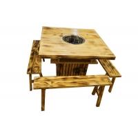 火烧木复古餐桌碳化碳烧实木桌火锅中餐农家院通用桌尺寸可定制