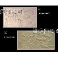 雅典娜F002荷花鲤鱼图砂岩浮雕艺术背景墙