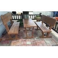 供应户外仿木靠背桌椅模具 小型仿树皮桌椅