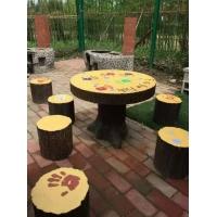 山东水泥仿木预制桌椅、座椅、
