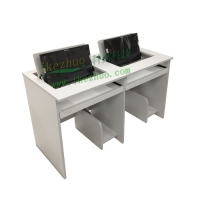 科桌翻转电脑桌1.4米 双人电脑桌 多媒体电教室机房桌