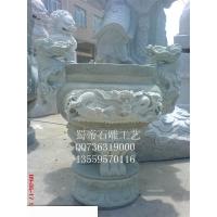 供应寺庙石雕 青石龙头香炉 圆形长方形香炉石雕