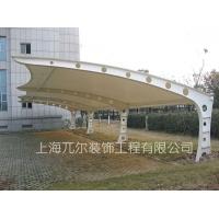 膜结构汽车雨棚自行车膜布车棚加工白色PVC膜布